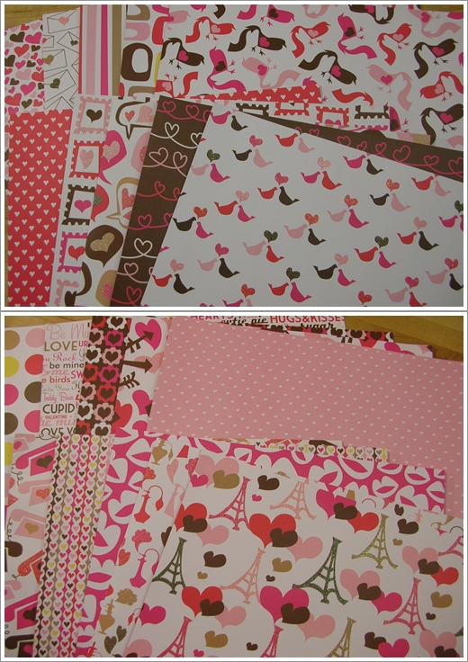 """American Crafts """"I  Heart You"""" Paper Pack"""